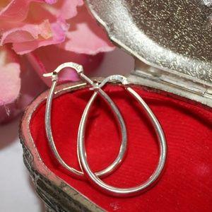Sterling Silver Teardrop Shaped Hoop Earrings